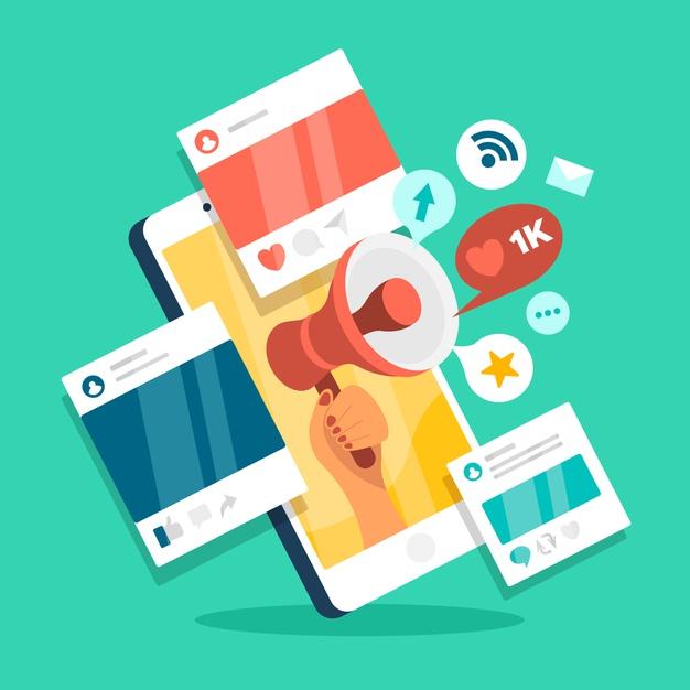 Móvil con publicaciones de marketing en redes sociales